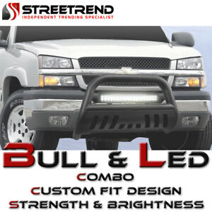 Matte Blk Hd Bull Bar Push Brush Guard 120w Cree Led Fog Light 98 11 Ford Ranger