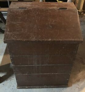 Antique Country Store Brown Solid Wood Coffee Bin Hinged Lid