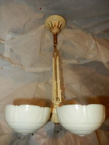 Ca 1930s Mid Century Five Light Deco Slip Shade Chandelier With Custard Shades