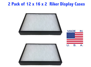 2 Pack Of Riker Display Case 12 X 16 X 2 For Collectibles Jewelry Arrowheads