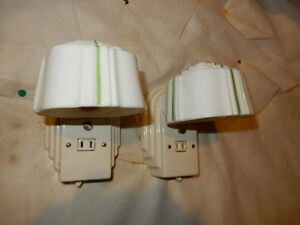 Pr Art Deco Streamlined Porcelain Wall Sconces W Old Green Pin Striped Shades