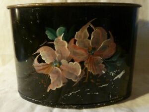 Vintage 7 Diameter 5 Tall Toleware Tin Hand Painted Letter Holder Etc