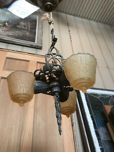 Fla 32 Antique Art Deco Amber Slip Shade Chandelier 3 Arm