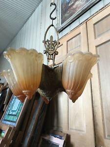 Fla 43 Antique Art Deco Five Slip Shade Chandelier 15 5 H By 17 5 W Plus Canopy