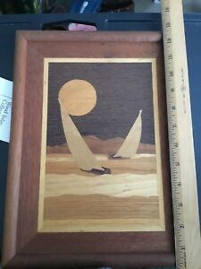 Vtg Nautical Marquetry Wood Inlay Wall Plaque Sailboats Moon W Tag