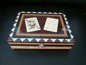 Vintage Wood Playing Card Two Decks Holder Inlay Lacquered Box Hinged Case Rare