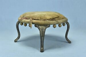 Antique Victorian Foot Round Foot Stool Cast Iron Legs Wood Frame Old 05618