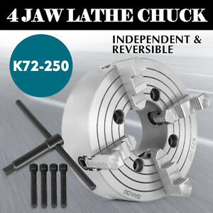 K72 250 10 4 Jaw Lathe Chuck Independent Wood Turning 250mm Cast Iron On Sale
