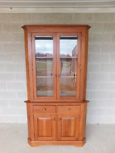 Hunt Country Cherry Chippendale Traditional Style 2pc Corner China Cabinet A