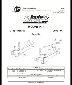 Fisher Snow Plow Truck Mount Dodge Dakota 2005 To 2011 7178 Pushplates