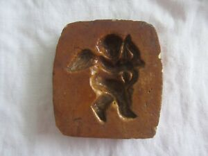 Rare Antique German Glazed Pottery Baking Mold For Springerle Cookies Cupid