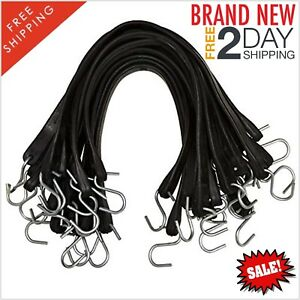 New 25 Pack Rubber Bungee Cord Tarp Straps With Hooks 21 Inch Heavy Duty Stretch