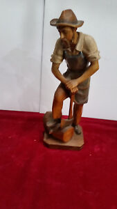 Hand Carved Wood Man With Ax 10 Inches