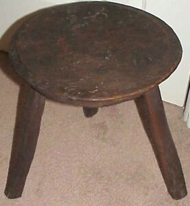 Primitive Antique Hand Carved Worm Eaten Solid Wooden 3 Leg Farm Milking Stool