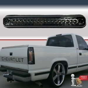 88 98 Chevy Silverado Third 3rd Brake Light Cargo Lamp Led Black Smoke Lens