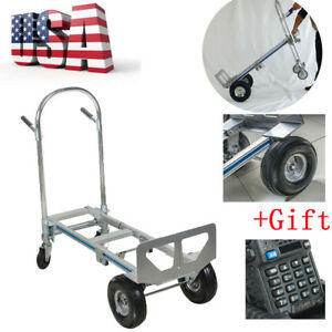 2in1 Aluminum Hand Truck 770lbs Convertible Foldable Dolly 4wheel Cart gift