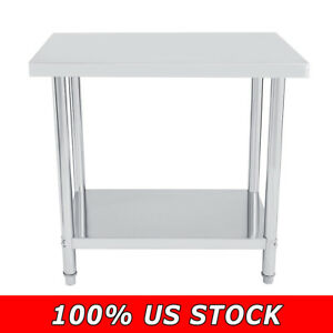 Stainless Steel Double Layer Kitchen Work Table commercial Restaurant Food Prep