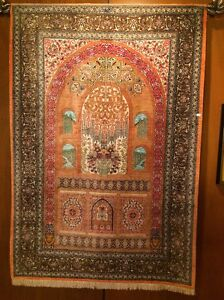 Silk Persian Prayer Rug Never Used High Detail Appraised At 12 5k