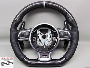 Audi Tts Ttrs R8 Silver Ring Stitch Perforated Thick Small Carbon Steering Wheel
