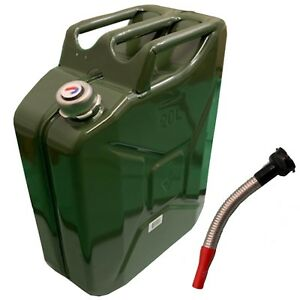 20 Litre Green Metal Jerry Can Military Nato Screw Cap Petrol Diesel Spout Inc
