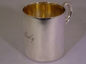 Rare Antique 1880 S Tiffany Co Sterling Silver Baby Infant Cup Original Bag