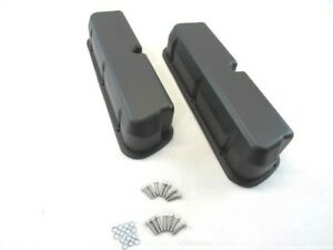 Small Block Ford 289 302 Aluminum Valve Covers Smooth Black Bpe 2208bk