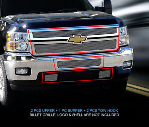 Fedar Billet Grille Combo For 2011 2014 Chevy Silverado 2500 3500 Polished