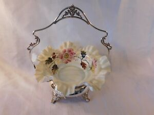 Homan Silver Plated Brides Basket Frame With Hand Painted Fluted Milk Glass Bowl
