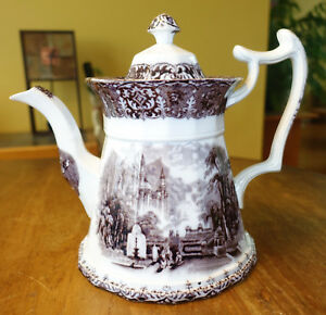 Large Antique Flow Mulberry Staffordshire Ironstone Teapot J Wedgwood Peruvian