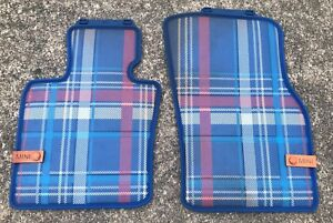 Mini Cooper Speedwell Blue Plaid All Weather Floor Mats Front New