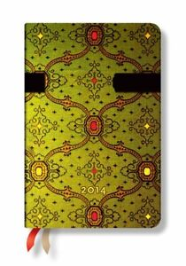 French Ornate Vert 2014 Paperblanks Weekly Planner mini 3 5 X 5 5 Horizontal