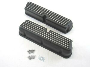 Ford 289 302 351 Polished Aluminum Tall Finned Valve Covers Black Bpe 2201b