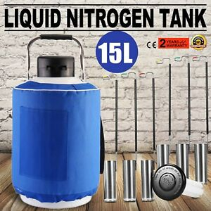 New 15l Liquid Nitrogen Tank Cryogenic Container Ln2 Dewar 6pcs Pails lock Cover