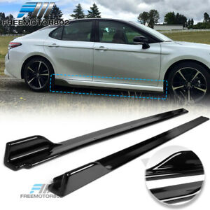 Fits 18 19 Toyota Camry V3 Style Side Skirts Extensions Gloss Black Lh Rh Pp