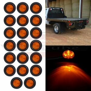 20 Round 2 5 Amber 4led Clearance Side Marker Lights Trailer Tail Lamps W grom