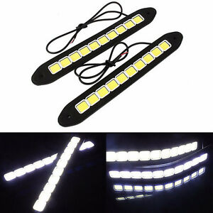 2pcs 20w Led 12v Daytime Running Light Drl Cob Strip Lamp Fog Car Waterproof