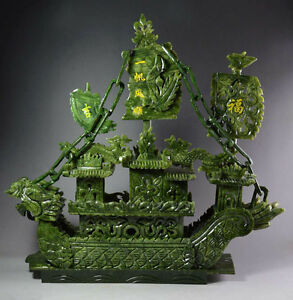 Large Chinese Hand Carved 100 Natural Jade Dragon Incense Statue Dragon Boat Tr