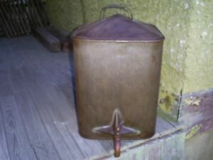 Antique Tinware Water Drinking Can U S Military Ww1 Tin Soldered Brass Spigot