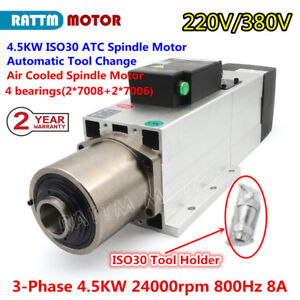 4 5kw Automatic Tool Change Air Cooled Atc Cnc Engraving Spindle Motor 8a Iso30