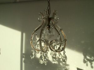 Vintage Murano Marie Therese Glass Covered French Crystal Cage Chandelier 1950s