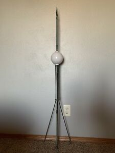 Antique Lightning Rod With White Glass Ball In Original Condition Measures 54