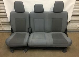 1999 2016 Ford F250 F350 Super Duty Rear Seat Gray Cloth 60 40