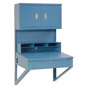 Shop Desk Wall Mount W pigeonhole Compartments And Cabinet Riser 34 1 2 w X