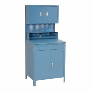Shop Desk W lower Cabinet Pigeonhole Compartments W upper Cabinet 34 1 2 w X