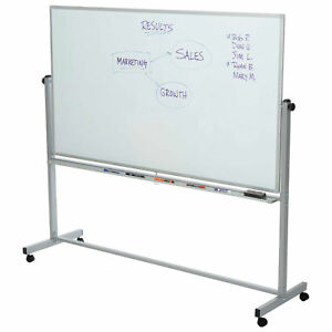 Rolling Magnetic Dry Erase Whiteboard Double Sided 96 w X 40 h Lot Of 1