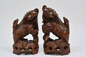 Antique Chinese Carved Wood Foo Dog Figurines 4 Inches Tall