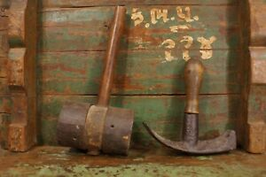 Antique Primitive Wood Wrought Iron Mallet Hammers Black Smith Wood Working