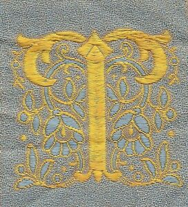 Vintage Antq Woven Silk Embroidered Letter T Use In Crazy Quilt Applique