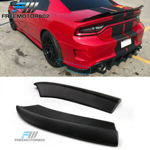 Fits 15 19 Dodge Charger Srt Style Rear Bumper Lip Aprons Matte Black Pp