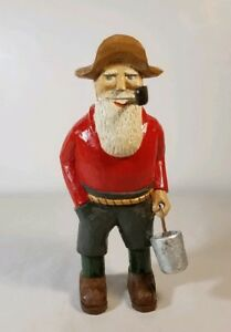 Hand Carved Wooden 6 Bearded Man With Pipe Figurine Vintage Farmer Red Blue